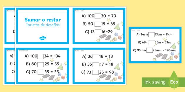 Sumar y restar Tarjetas de desafío de matemáticas de atención a la diversidad
