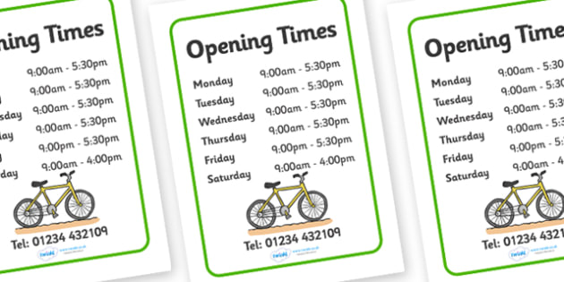 Bicycle Repair Shop Opening Times - Bike repair, bicycle, bikes, opening times, shop times, timetable, transport, role play, wheels, tyres, bikes, bike role play, fix, repair