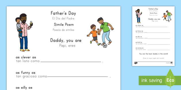 Fathers Day Simile Poem Card Template Englishspanish