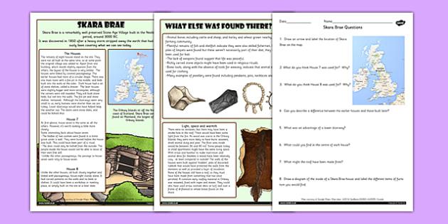 Skara Brae Differentiated Reading Comprehension Activity - skara brae, comprehension