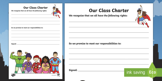 Our Class Charter Superhero-Themed for SEAL Writing Template -  Writing, Template, Classroom, Management, Behaviour, KS1