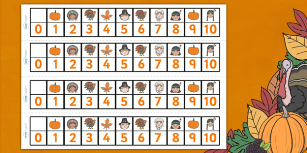 Thanksgiving Number Track 0-10 - thanksgiving, number track, Counting, 0, 10, Numbertrack, Counting on, Counting back, Foundation Numeracy, themed, numbers, nought, zero, ten, turkey, harvest celebrations, autumn, united states, usa, canada, holiday,