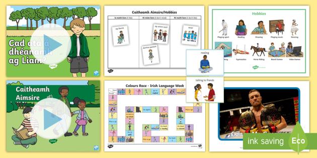 u0026 39 caitheamh aimsire  hobbies u0026 39  gaeilge  u0026 english language resource pack