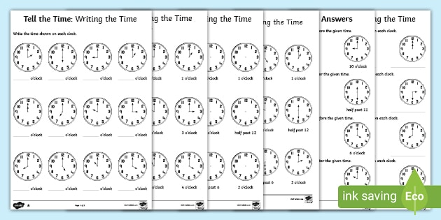 O Clock And Half Past Telling Time Worksheets Ks1 - 19+ Kindergarten Telling Time Worksheets Pics
