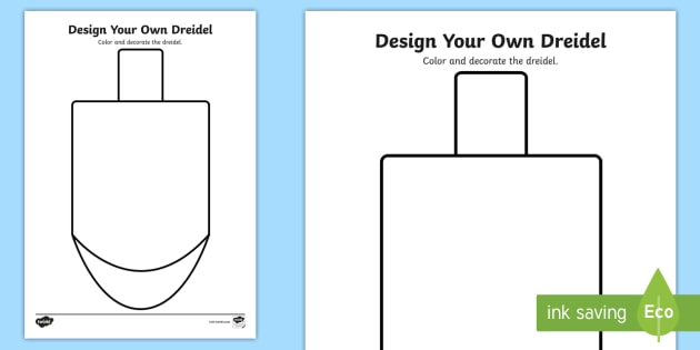 design your own dreidel coloring worksheet activity sheet. Black Bedroom Furniture Sets. Home Design Ideas