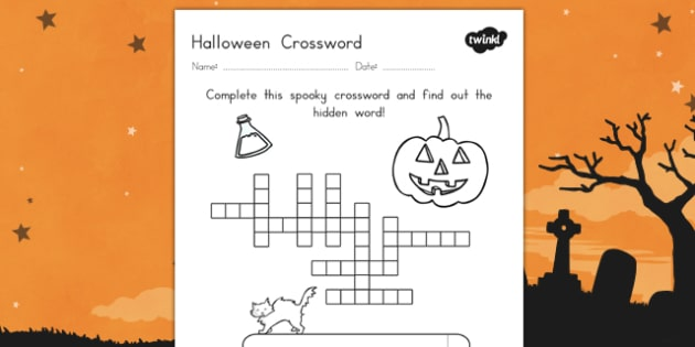 Halloween Crossword - halloween, crossword, halloween word game, halloween themed crossword, halloween crossword worksheet, halloween word activities