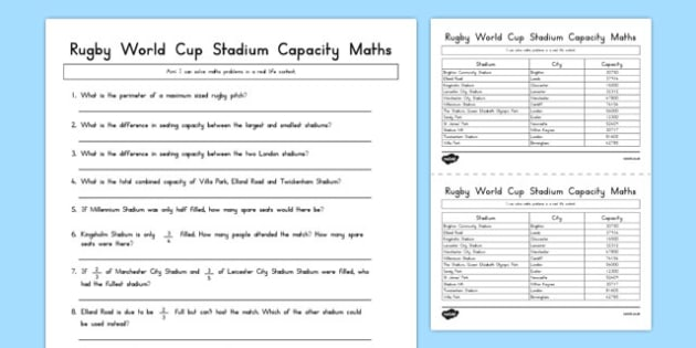 Rugby World Cup Stadium Maths Capacity Activity - australia