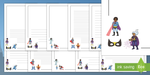 Superhero Page Borders - Page border, border, writing template, writing aid, Superhero, superheroes, hero, batman, superman, spiderman, special, power, powers, catwoman, liono, he-man