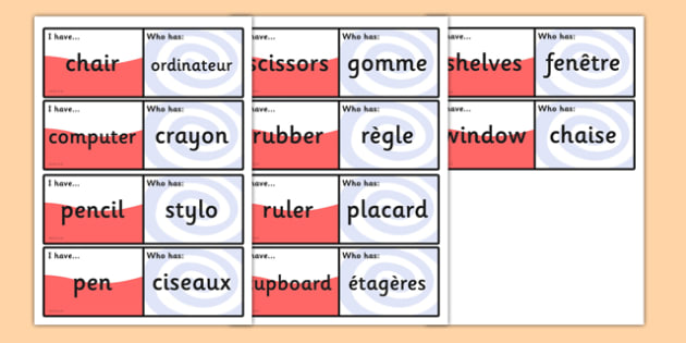 French School Equipment Loop Cards - French, School, Loop, Cards