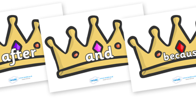 Connectives on Crowns - Connectives, VCOP, connective resources, connectives display words, connective displays