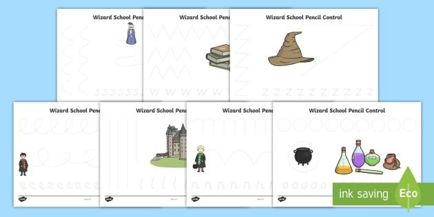 Wizard School Pencil Control Sheets - worksheets, worksheet