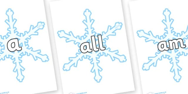 Foundation Stage 2 Keywords on Snowflakes (New) - FS2, CLL, keywords, Communication language and literacy,  Display, Key words, high frequency words, foundation stage literacy, DfES Letters and Sounds, Letters and Sounds, spelling