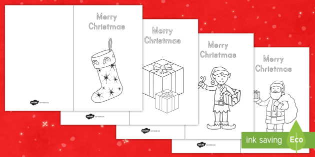 Merry Christmas Coloring Cards - Christmas, Christmas Cards