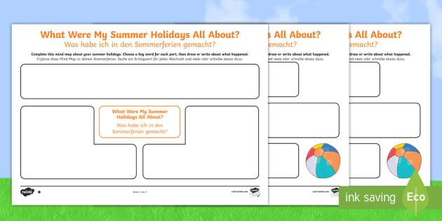 Back to School Summer Holidays Mind Map Worksheet / Activity Sheet English/German - EAL, German, Back to School, new start, new class, summer holidays,Scottish, worksheet, activity she