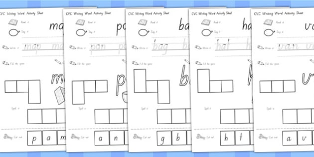 CVC Writing Word Activity Sheets A - CVC words, activities, write, worksheet
