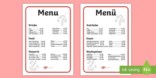 Cafe Menu For Role Play