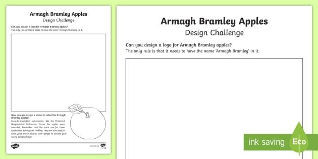 Armagh Bramley Apple Design Challenge Worksheet / Activity Sheet - STEM, Thematic Units, Northern Ireland, poster, advertisement, produce, worksheet, farming, baking,