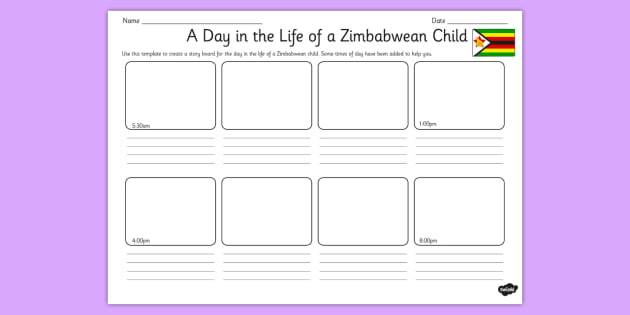 A day in the life of a zimbabwean child storyboard activity for A day in the life of a minimalist