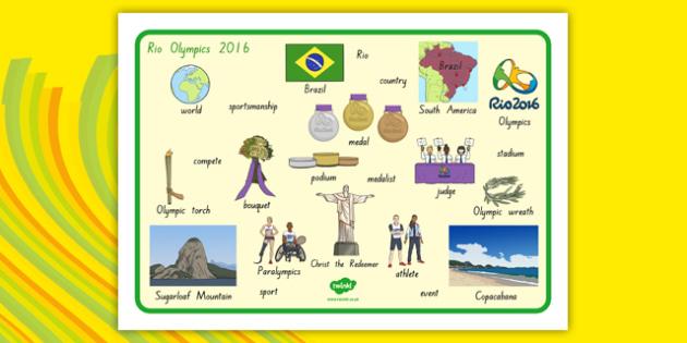 Rio Olympics 2016 Word Mat - nz, new zealand, rio olympics, olympics, rio, 2016, word mat, word, mat