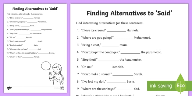 Synonyms for Said Worksheet - Words and Vocabulary