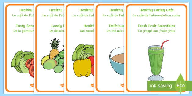 Healthy Eating Cafe Display Posters English French
