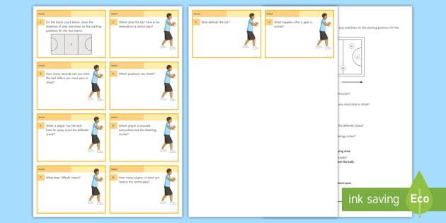 netball quiz cards teacher made