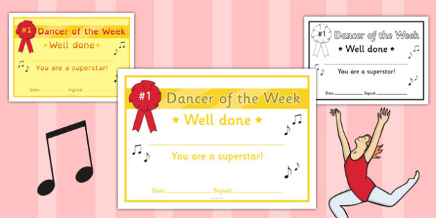 Dancer of the Week Certificate - dancer, week, certificate, award