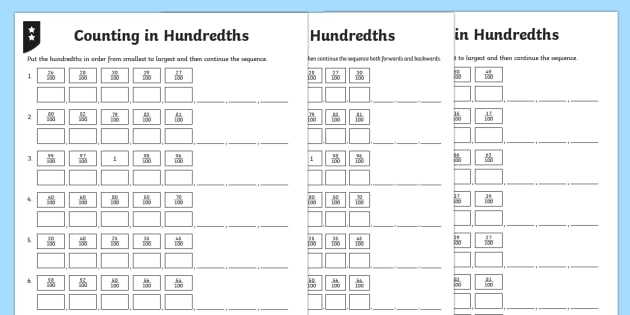 Ordering and Counting in Hundredths Differentiated Worksheet /