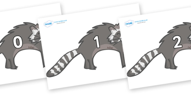 Numbers 0-31 on Raccoons - 0-31, foundation stage numeracy, Number recognition, Number flashcards, counting, number frieze, Display numbers, number posters
