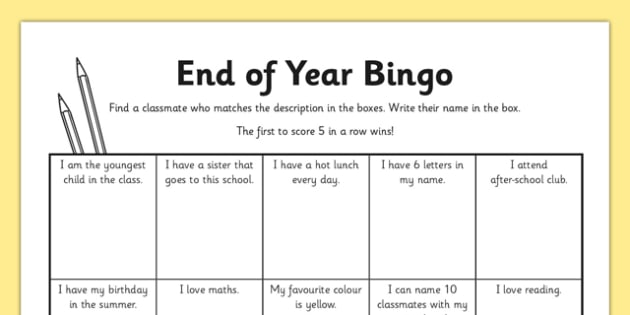 Last Day of School Bingo Activity Sheet - End of the School Year Bingo Game