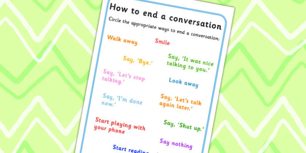 ab80cf5c1f18 How To End A Conversation Worksheet - conversations