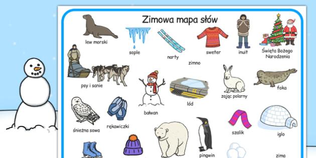 Plansza z zimowym slownictwem po polsku - nauczyciel, dzieci , Polish