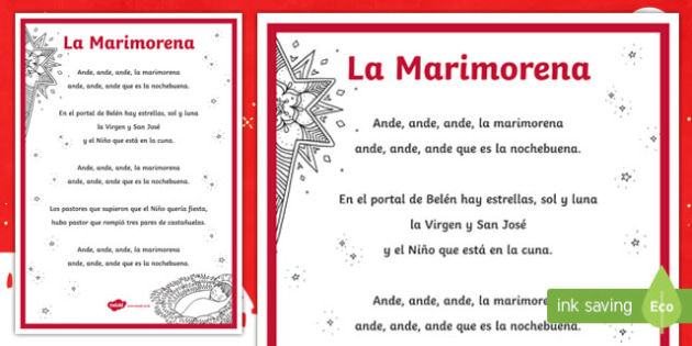 La Marimorena Christmas Carol Lyrics Display Poster Spanish