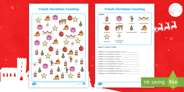 french christmas themed counting worksheet worksheet festivals. Black Bedroom Furniture Sets. Home Design Ideas