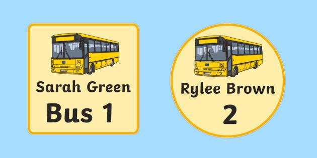 Editable Bus Name Tags - early childhood classroom