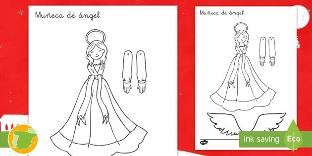 Actividad de encuadernadores: Muñeca de ángel - Navidad