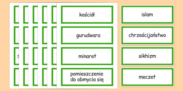 Places of Worship Vocabulary Cards Polish - polish, places, worship, vocabulary, cards