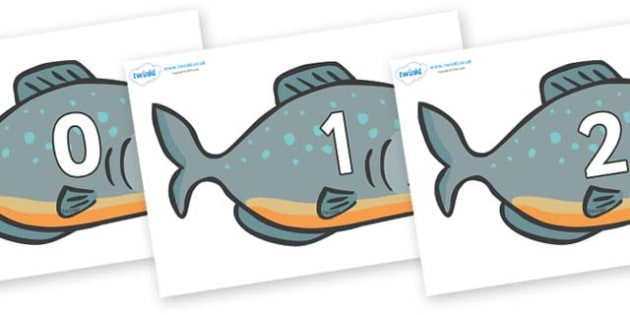 Numbers 0-31 on Piranhas - 0-31, foundation stage numeracy, Number recognition, Number flashcards, counting, number frieze, Display numbers, number posters