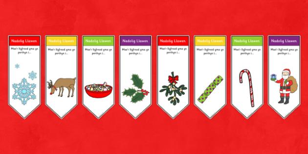 Llyfrnodau Nadolig - Christmas, xmas, Bookmark, welsh, wales, bookmark template, tree, advent, nativity, santa, father christmas, Jesus, tree, stocking, present, activity, cracker, angel, snowman, advent , bauble gift,  present, boo
