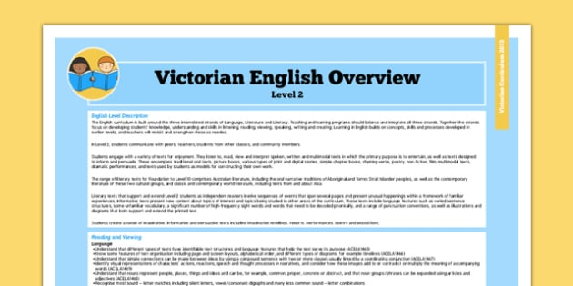 AusVELs Victorian Curriculum Level 2 English Overview - australia