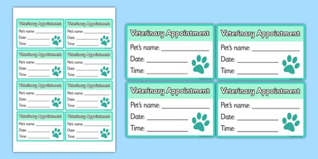 Vet's Surgery Pet Appointments Form - Vets, vet, vet role play, pet, pets, pet appointment, appointments, cards, card, animal information, vet, operation, xray, nurse, medicine, vaccine, bandage, cat, dog, rabbit