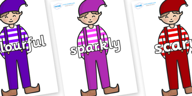 Wow Words on Elf (Boy) - Wow words, adjectives, VCOP, describing, Wow, display, poster, wow display, tasty, scary, ugly, beautiful, colourful sharp, bouncy