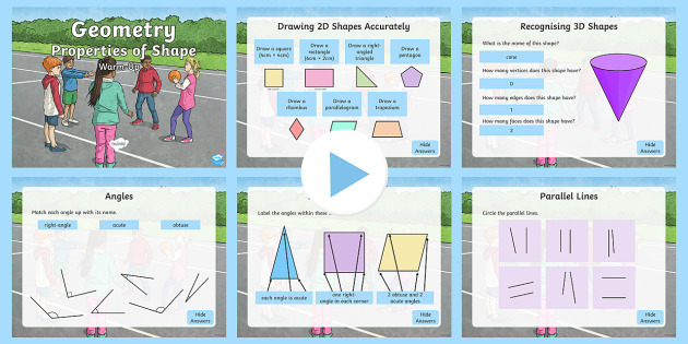 year 3 geometry properties of shapes maths warm up powerpoint