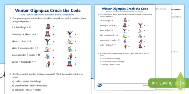 ks1 winter olympics crack the code worksheet activity sheet. Black Bedroom Furniture Sets. Home Design Ideas