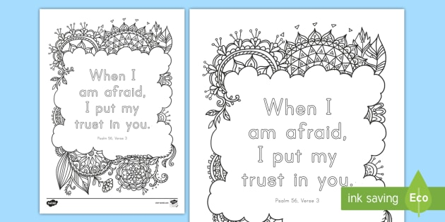 psalm 563 mindfulness coloring page bible memory verse christian memorization - Psalm 56 3 Coloring Page