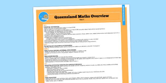 Queensland Curriculum Year 3 Maths Numeracy Syllabus Overview - australia