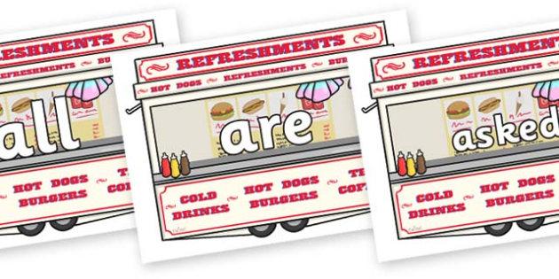 Tricky Words on Fairground Food Vans - Tricky words, DfES Letters and Sounds, Letters and sounds, display, words