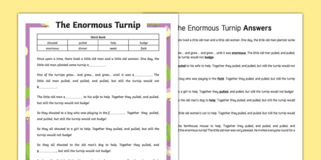 The Enormous Turnip Traditional Tale Cloze Procedure Differentiated Worksheet / Activity Sheet Pack, worksheet