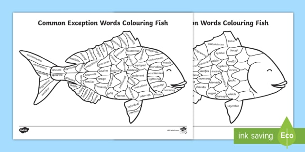 Year 5 And 6 Statutory Spelling Words Colouring Fish Worksheet