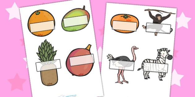 Self Registration Editable to Support Teaching on Handa's Surprise - edit, labels, label